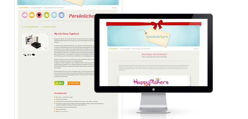 Geschenk-Webdesign-Webseite